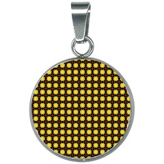 Yellow Pattern Green 20mm Round Necklace