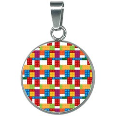 Lego Background Rainbow 20mm Round Necklace by AnjaniArt