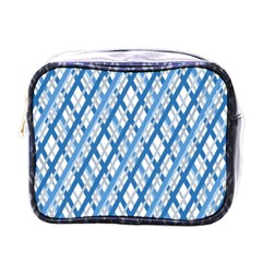 Geometric Overlay Blue Mini Toiletries Bag (one Side)