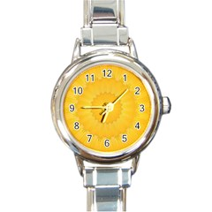 Wave Lines Yellow Round Italian Charm Watch