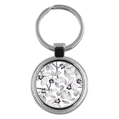 Floral Pattern Background Key Chain (round)