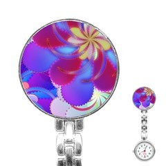 Colorful Abstract Design Pattern Stainless Steel Nurses Watch