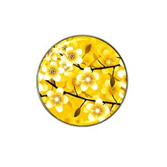 Floral Pattern Background Yellow Hat Clip Ball Marker