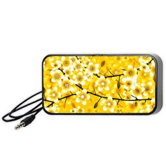Floral Pattern Background Yellow Portable Speaker