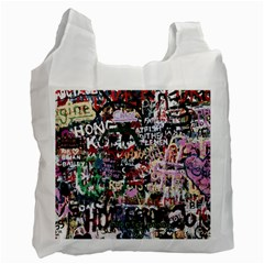 Graffiti Wall Background Recycle Bag (two Side)