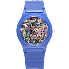 Graffiti Wall Background Round Plastic Sport Watch (s)