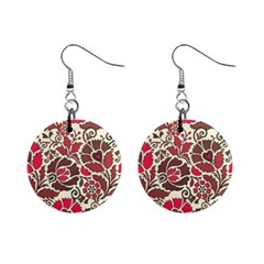 Floral Ethnic Pattern Mini Button Earrings