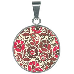 Floral Ethnic Pattern 25mm Round Necklace