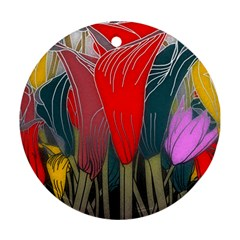 Floral Pattern Background Texture Round Ornament (two Sides)
