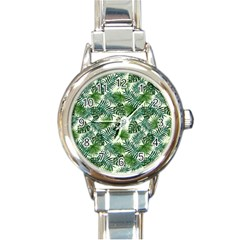 Leaves Tropical Wallpaper Foliage Round Italian Charm Watch