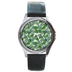 Leaves Tropical Wallpaper Foliage Round Metal Watch