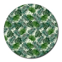 Leaves Tropical Wallpaper Foliage Round Mousepads