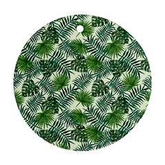 Leaves Tropical Wallpaper Foliage Ornament (round) by Pakrebo