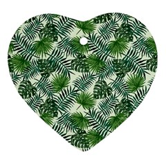 Leaves Tropical Wallpaper Foliage Ornament (Heart)