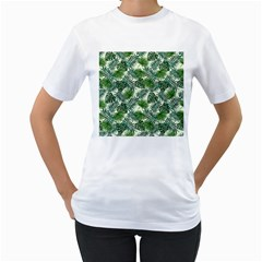 Leaves Tropical Wallpaper Foliage Women s T-Shirt (White) (Two Sided)