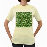 Leaves Tropical Wallpaper Foliage Women s Yellow T-Shirt Front