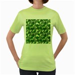 Leaves Tropical Wallpaper Foliage Women s Green T-Shirt Front