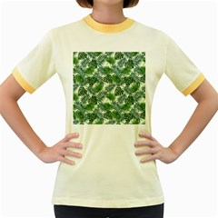 Leaves Tropical Wallpaper Foliage Women s Fitted Ringer T-Shirt