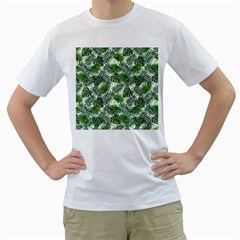 Leaves Tropical Wallpaper Foliage Men s T-Shirt (White) (Two Sided)