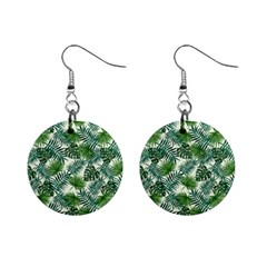 Leaves Tropical Wallpaper Foliage Mini Button Earrings