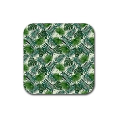 Leaves Tropical Wallpaper Foliage Rubber Coaster (Square)