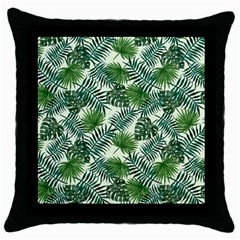 Leaves Tropical Wallpaper Foliage Throw Pillow Case (Black)