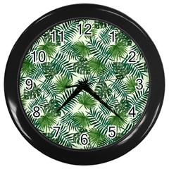 Leaves Tropical Wallpaper Foliage Wall Clock (Black)