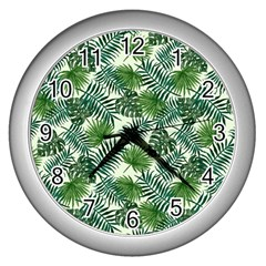 Leaves Tropical Wallpaper Foliage Wall Clock (Silver)
