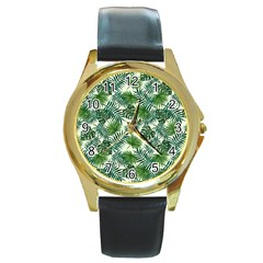 Leaves Tropical Wallpaper Foliage Round Gold Metal Watch