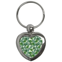 Leaves Tropical Wallpaper Foliage Key Chain (Heart)