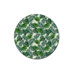 Leaves Tropical Wallpaper Foliage Rubber Coaster (Round)