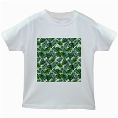 Leaves Tropical Wallpaper Foliage Kids White T-Shirts