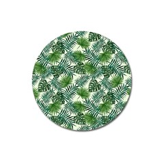 Leaves Tropical Wallpaper Foliage Magnet 3  (Round)