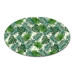 Leaves Tropical Wallpaper Foliage Oval Magnet