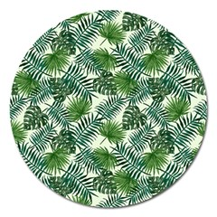 Leaves Tropical Wallpaper Foliage Magnet 5  (Round)
