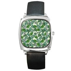 Leaves Tropical Wallpaper Foliage Square Metal Watch