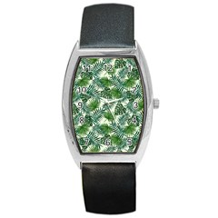Leaves Tropical Wallpaper Foliage Barrel Style Metal Watch