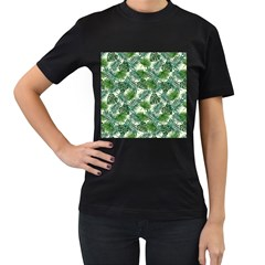 Leaves Tropical Wallpaper Foliage Women s T-Shirt (Black) (Two Sided)