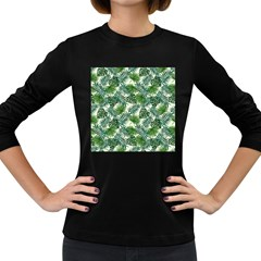 Leaves Tropical Wallpaper Foliage Women s Long Sleeve Dark T-Shirt