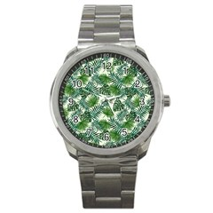 Leaves Tropical Wallpaper Foliage Sport Metal Watch
