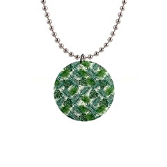 Leaves Tropical Wallpaper Foliage 1  Button Necklace