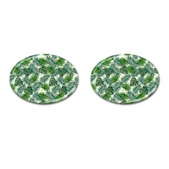 Leaves Tropical Wallpaper Foliage Cufflinks (Oval)