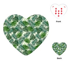 Leaves Tropical Wallpaper Foliage Playing Cards Single Design (Heart)