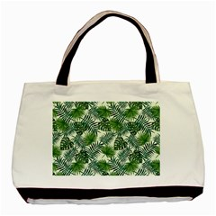 Leaves Tropical Wallpaper Foliage Basic Tote Bag