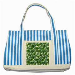 Leaves Tropical Wallpaper Foliage Striped Blue Tote Bag