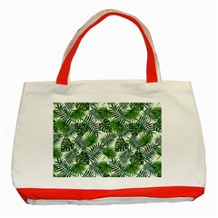 Leaves Tropical Wallpaper Foliage Classic Tote Bag (Red)