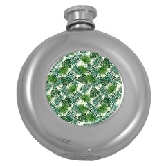 Leaves Tropical Wallpaper Foliage Round Hip Flask (5 oz)