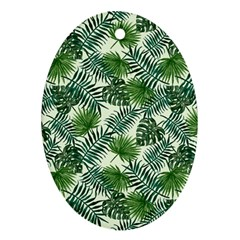 Leaves Tropical Wallpaper Foliage Oval Ornament (Two Sides)