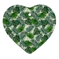 Leaves Tropical Wallpaper Foliage Heart Ornament (Two Sides)
