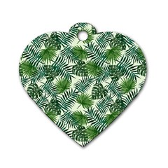 Leaves Tropical Wallpaper Foliage Dog Tag Heart (Two Sides)